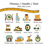 Weight Loss, Diet icons set. Fitness and health collection. Thin line design. Vector pictograms Stock Image