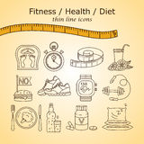 Weight Loss, Diet icons set. Fitness and health collection. Thin line design. Vector pictograms Stock Photo