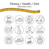Weight Loss, Diet icons set. Fitness and health collection. Thin line design. Vector pictograms Royalty Free Stock Photos