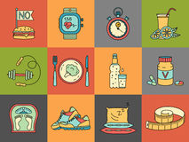 Weight Loss, Diet icons set. Fitness and health collection. Stock Photography