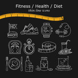 Weight Loss, Diet icons set. Fitness and health collection. Thin line design. Vector pictograms Stock Photography