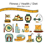Weight Loss, Diet icons set. Fitness and health collection. Thin line design. Vector pictograms Stock Photos