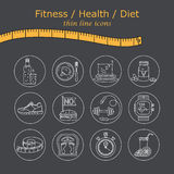Weight Loss, Diet icons set. Fitness and health collection. Royalty Free Stock Images