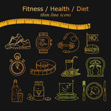 Weight Loss, Diet icons set. Fitness and health collection. Thin line design. Vector pictograms Royalty Free Stock Image
