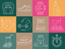 Weight Loss, Diet icons set. Fitness and health collection. Royalty Free Stock Image