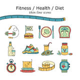 Weight Loss, Diet icons set. Fitness and health collection. Thin line design. Vector pictograms Royalty Free Stock Photography