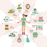 Weight Loss, Diet infographics. Fitness and health card. Thin line design. Vector pictograms Stock Photography