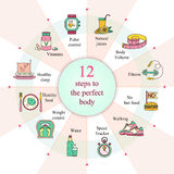 Weight Loss, Diet infographics. Fitness and health card. Thin line design. Vector pictograms Stock Images