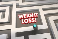 Weight Loss Diet Lose Pounds Eat Less Maze. 3d Illustration Royalty Free Stock Photography