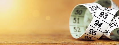 Weight loss, diet - measuring tape banner Stock Photo