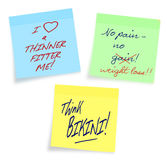 Weight loss, diet motivational notes, white backgr Royalty Free Stock Images