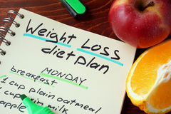 Weight loss diet plan. Royalty Free Stock Images