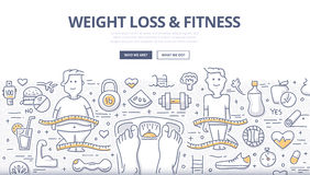 Weight Loss & Fitness Doodle Concept Stock Photo