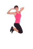 Weight loss fitness woman jumping of joy Stock Photo