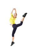 Weight loss fitness woman jumping of joy. Royalty Free Stock Photos