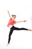 Weight loss fitness woman jumping of joy. Stock Images
