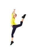 Weight loss fitness woman jumping of joy. Young sporty Caucasian female model on white background in full body. Weight fitness woman jumping of joy. Young sporty royalty free stock photography