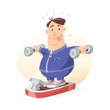 Weight loss. Funny man exercising with dumbbells and losing weight sweating Royalty Free Stock Photography