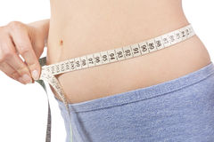 Weight loss. Girl in panties measuring her body with tape measure detail isolaled on white. Belly detail. Weight loss and diet Stock Photos