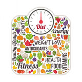 Weight loss and healthy eating concept. Scale and vegetables colorful icons set Royalty Free Stock Images