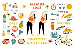Weight loss, healthy food, cute doodle set with lettering. Cartoon woman before and after diet. Hand drawn vector flat royalty free stock photography