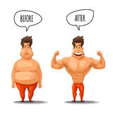 Weight loss. Man before and after diet vector illustration Royalty Free Stock Photos