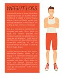 Weight Loss Man Poster Text Vector Illustration. Weight loss man poster and text sample. Person with strong body smiling, bodybuilder with slender figure and stock illustration