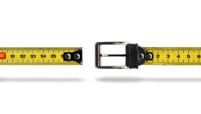 Weight loss measure belt gap. Tape measure buckle belt for weight loss waist girth measurement stock images