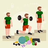 Before and after weight loss men concept fitness vector illustration Stock Image
