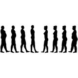 Weight loss men and women. Slimming silhouettes of men and women in vector on white Royalty Free Stock Photography