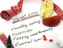 Weight loss. Paper with words Weight loss, healthy eating, dieting supplements and control bmi Royalty Free Stock Images