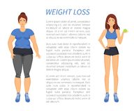 Weight Loss People Change Vector Illustration. Weight loss people changing with healthy habits and sport in life. Obesity and fitness, sportive slim, fat woman royalty free illustration