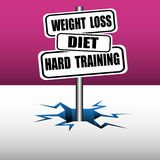 Weight loss plate. Abstract colorful background with three plates with the text weight loss, diet and hard training coming out from an ice crack Royalty Free Stock Images