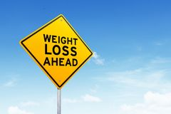 Weight loss road sign over beautiful sky. New year resolution concept royalty free stock photos