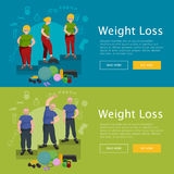 Before and after weight loss senior concept fitness vector illustration Royalty Free Stock Photo
