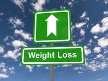Weight loss sign. With directional arrow, blue sky and cloudscape background Stock Photography