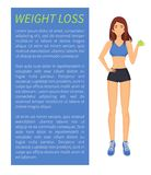 Weight Loss Sport and Diet Vector Illustration. Weight loss sport and diet, woman with apple fruit. Poster with text sample and sportswoman in good shape, eating vector illustration