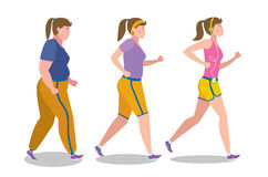 Weight loss stages on white. Royalty Free Stock Images
