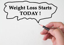 Weight Loss Starts TODAY concept. Concept for weight loss today Stock Photos