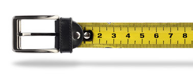 Weight loss tape measure belt. Tape measure buckle belt for weight loss waist girth measurement stock images