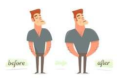 Before and after weight loss. Thick and thin man. Thick and thin man. Before and after weight loss Royalty Free Stock Images