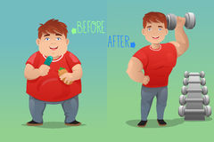 Before and after: weight loss. A vector  illustration of weight loss concept of a man before and after diet Royalty Free Stock Image
