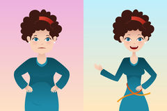 Before and after: weight loss. A vector  illustration of weight loss concept of a pretty girl before and after diet Stock Photography