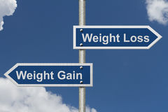 Weight Loss versus Weight Gain. Two Blue Road Sign with text Weight Loss and Weight Gain with sky background Royalty Free Stock Images