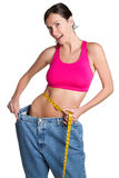 Weight Loss Woman. Measuring waist Stock Photo