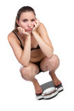 Weight Loss Woman. Sad isolated weight loss woman Stock Photography