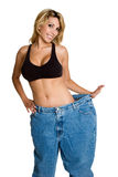 Weight Loss Woman. Happy smiling weight loss woman Royalty Free Stock Photos