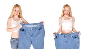 Weight Loss Woman Excerise Makeover Stock Photos