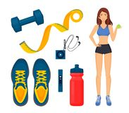 Weight Loss of Woman Icons Vector Illustration. Weight loss of woman isolated icons set. Sneakers and water, mp3 player and headphones, meter measurement roll royalty free illustration