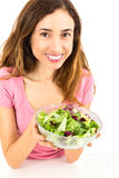 Weight loss woman showing a bowl of salad Stock Image